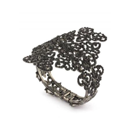 Bracelet jonc glamour en métal laqué et cristaux | Noir