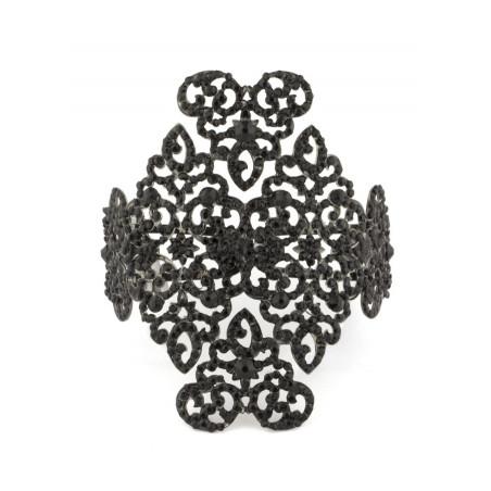 Bracelet jonc glamour en métal laqué et cristaux | Noir48709