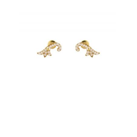 Feminine stem earrings in golden metal and pearly beads | White