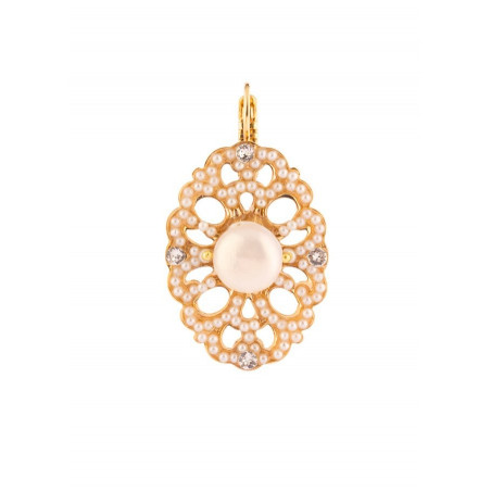 Original fashion earrings in golden metal crystals | White