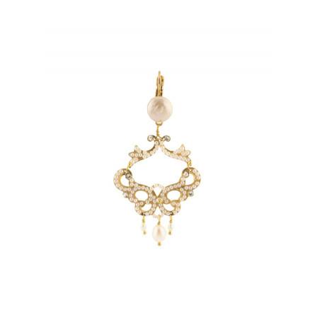 Boucles d'oreilles chic métal doré et cristaux | Blanc