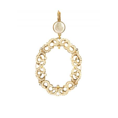 Boucles d'oreilles luxueuses métal doré et cristaux | Blanc
