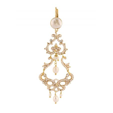 Boucles d'oreilles féminines métal doré et cristaux | Blanc