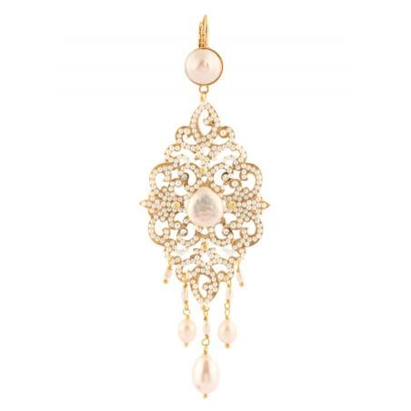 Elegant fashion earrings in golden metal crystals | White