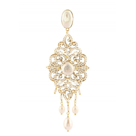 Elegant fashion clip earrings in golden metal crystals | White