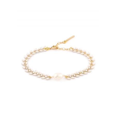 Bracelet féminin bijou en métal doré et cristaux | Blanc
