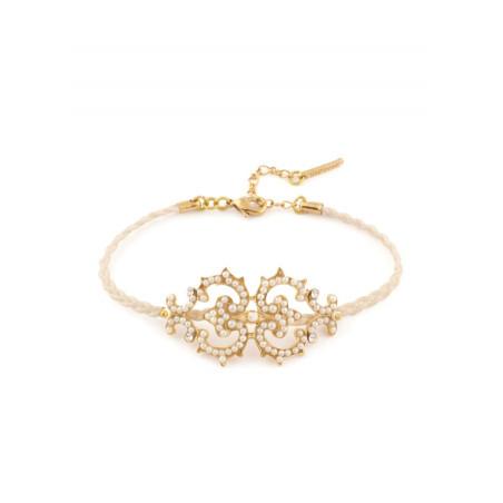 Elegant bracelet in golden metal crystals | White