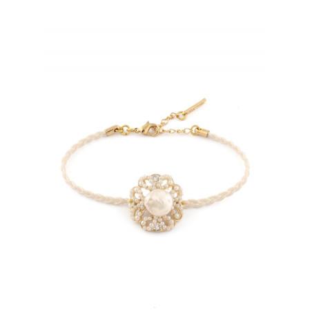 Bracelet lumineux bijou en métal doré et cristaux   Blanc