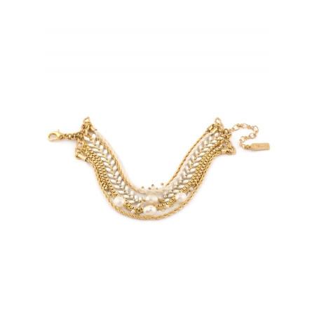 Bracelet estival bijou en métal doré et billes nacrées | Blanc