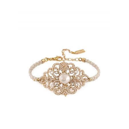 Original bracelet in golden metal crystals | White