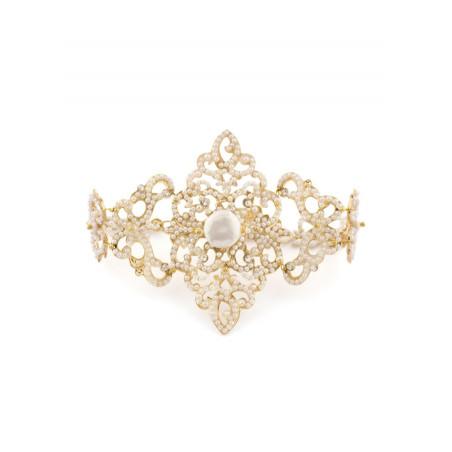 Coloured bracelet in golden metal crystals | White