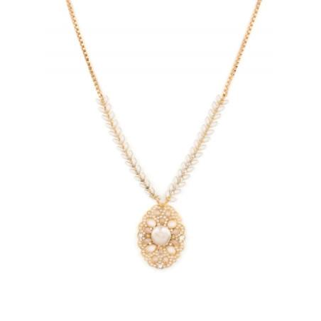Collier estival bijou en métal doré et cristaux | Blanc