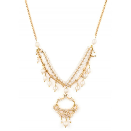 Original fashion necklace in golden metal with crystals | White
