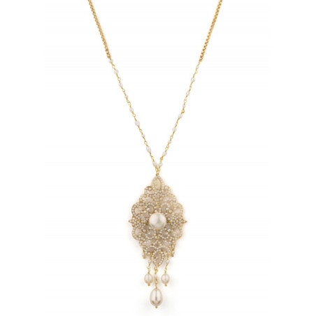 Coloured fashion necklace in golden metal crystals   White