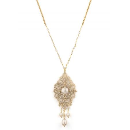 Collier coloré bijou en métal doré et cristaux | Blanc