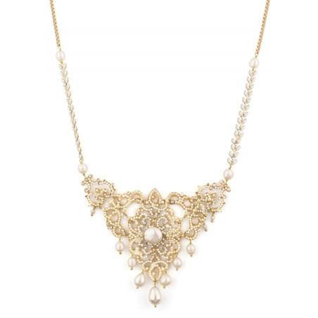 Collier mode bijou en métal doré et cristaux | Blanc