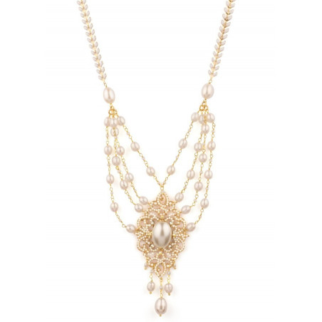 Trendy fashion necklace in golden metal with crystals | White