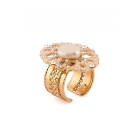 Elegant fashion ring in golden metal crystals | White
