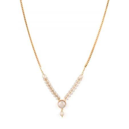 Collier lumineux bijou en métal doré et cristaux | Blanc