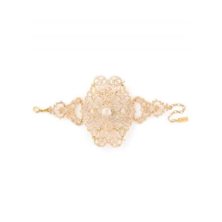 Elegant bracelet in golden metal and coral beads | Red49597
