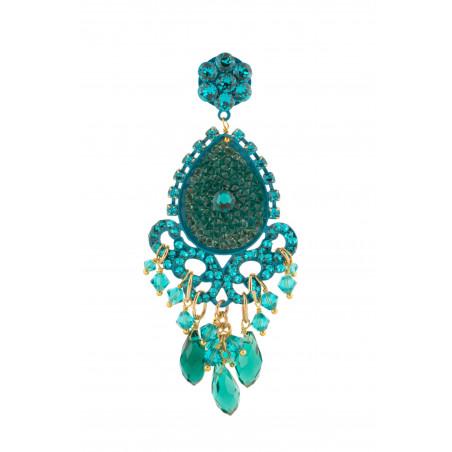 Boucles d'oreilles glamour en métal laqué et cristaux   Zircon53630