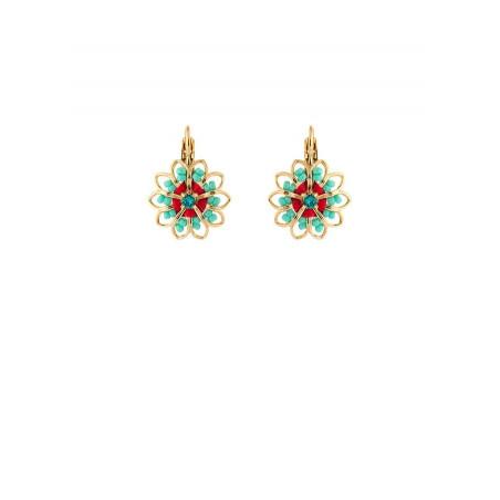 Chic gold metal crystal earrings | Blue