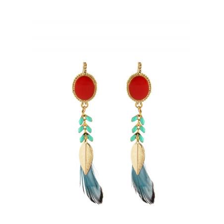 Boucles d'oreilles mode métal doré et plumes | Bleu