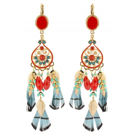 Elegant  and feather earrings | Blue