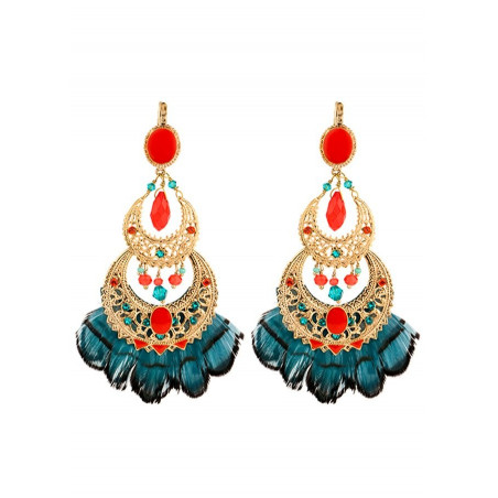 Summery  and feather earrings   Blue