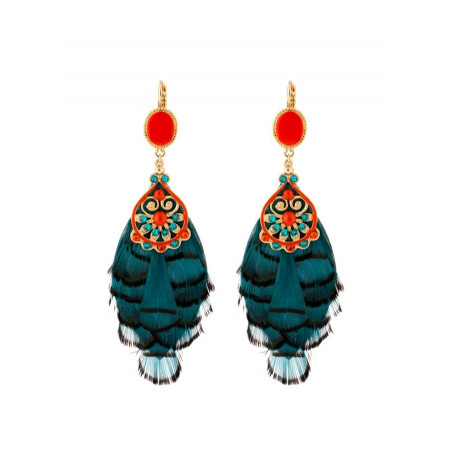 Luxury  and feather earrings   Blue