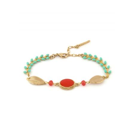 Bracelet mode métal doré et perles | Bleu