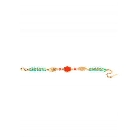 Bracelet mode métal doré et perles | Bleu62197