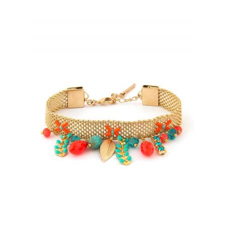 Bracelet ethnique métal doré et cristaux | Bleu