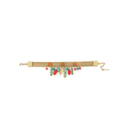 Bracelet ethnique métal doré et cristaux | Bleu62215