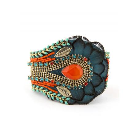 Delicate feather crystal bracelet | Blue