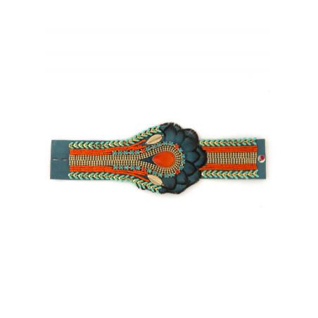 Delicate feather crystal bracelet | Blue62233