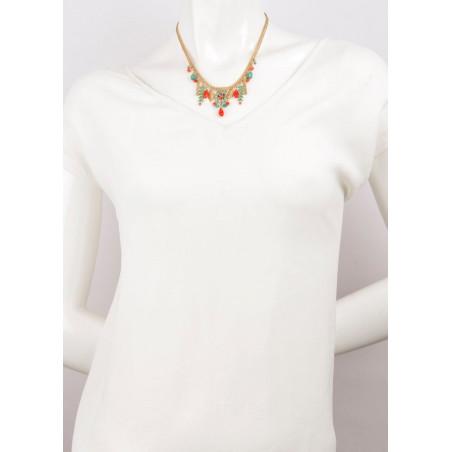Collier estival cristaux et perles | Bleu62240