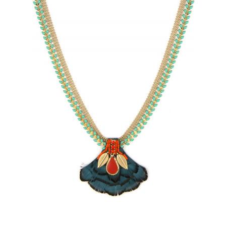 Collier luxueux cristaux et plumes | Bleu