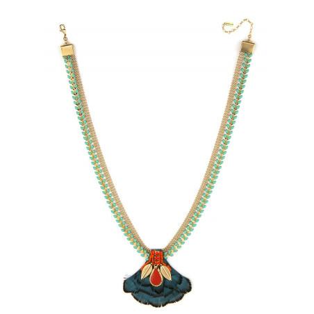 Collier luxueux cristaux et plumes | Bleu62247