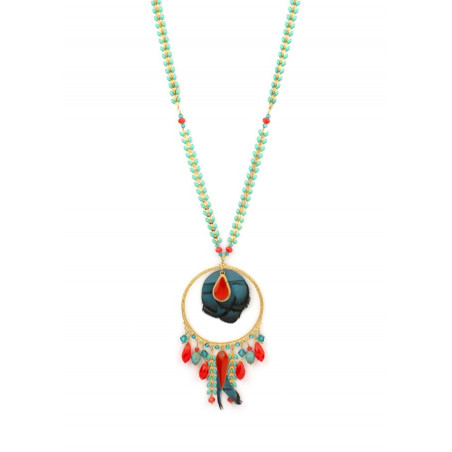Refined crystal and feather sautoir necklace   Blue