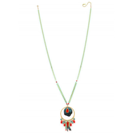 Refined crystal and feather sautoir necklace   Blue62255