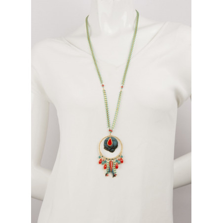 Refined crystal and feather sautoir necklace   Blue62256