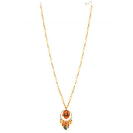 Sautoir élégant cristaux et plumes   Orange62259
