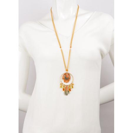 Sautoir élégant cristaux et plumes   Orange62260