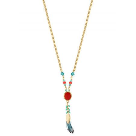 Collier tendance cristaux et plumes | Bleu