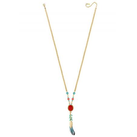 Collier tendance cristaux et plumes | Bleu62294
