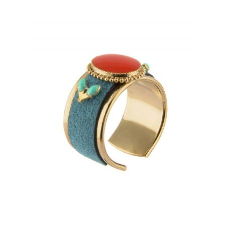 Bague ethnique métal doré et alcantara | Bleu