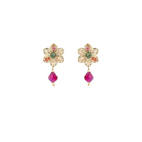 Baroque earrings in gold metal | Pastel