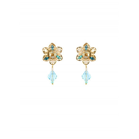 Chic earrings with river pearls beads   Turquoise