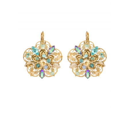 Refined gold metal earrings | Turquoise